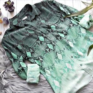 Equipment Green Silk Snakeskin Print Blouse Size M